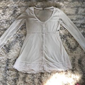 Roxy Long Sleeve Lace Button Down Sweater